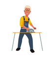 happy carpenter working with circular saw vector image vector image