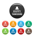 hat happy thanksgiving icons set color vector image vector image