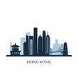 hong kong skyline monochrome silhouette vector image vector image