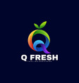 logo q fresh gradient colorful style vector image
