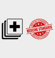 medical data icon and scratched medicine vector image vector image