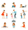 mutual relations of parents and children mom and vector image vector image