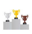 pedestal with the cup winner of the first gold vector image vector image