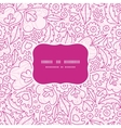 pink flowers lineart frame seamless pattern vector image