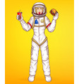 pop art spacewoman holds food burger vector image