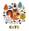 poster squirrel in forest scandinavian style vector image vector image