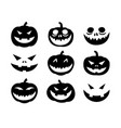 pumpkin face halloween icon set solid style vector image