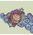 Seashell in waves vector image vector image