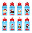 set christmas labels with heads dogs in santa hats vector image