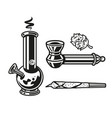 set elements devices for smoking marijuana leaves vector image