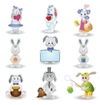 Set toy rabbits vector image vector image