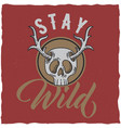 skull with deer horns t-shirt label design vector image