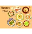 Soup dishes icon for healthy lunch menu design vector image vector image
