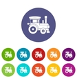 Toy train set icons vector image vector image