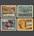 trumpets retro vinyl records mic and saxophone vector image vector image