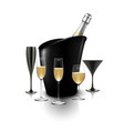 wineglass and a bottle of champagne in a bucket vector image vector image