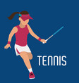 woman play tennis with racket and uniform vector image