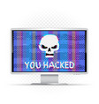 you hacked text on wide monitor vector image vector image