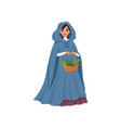 young woman in medieval dress holding basket of vector image vector image