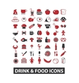 drink food icons set vector image