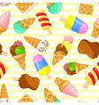Colorful pastel pattern of ice cream on a striped vector image