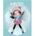 cute cartoon winter girl vector image