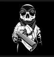 a skull wearing a bandana hands over a gun vector image vector image