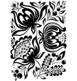 abstract black and white flowers Stylish retro orn vector image vector image
