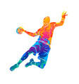 abstract handball player jumping with the ball vector image vector image
