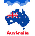 australia map with flag and clouds vector image