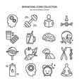 biohacking icons set in thin line style vector image vector image