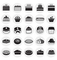 cake icons set on circles background for graphic vector image vector image