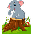 cartoon cute baby elephant on tree stump vector image vector image