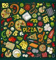 cartoon set of pizzeria objects and symbols vector image vector image