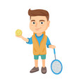 caucasian tennis player holding racket and ball vector image vector image