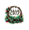 christmas wreath from a splash of watercolor hand vector image vector image