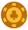 clubs suit gold casino chip vector image vector image