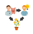 crowdfunding business project by raising monetary vector image