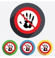 Do not touch Hand print sign icon Stop symbol vector image vector image