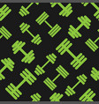 dumbbell green pattern seamless flat style for web vector image
