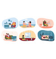 family people spending time together and alone vector image
