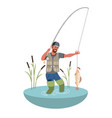 fishing fisherman with big fish flat vector image vector image