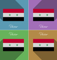 Flags Syria Set of colors flat design and long vector image