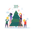 flat happy people decorating christmas tree vector image