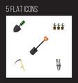 flat icon garden set of trowel pump flowerpot vector image vector image