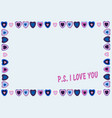 frame of hearts on blue background with text ps vector image vector image