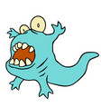 funny blue dinosaur funny blue vector image vector image