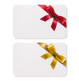 gift card with bows vector image vector image
