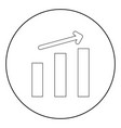 growth chart the black color icon in circle or vector image vector image