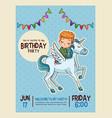 happy birthday invitation blue card vector image